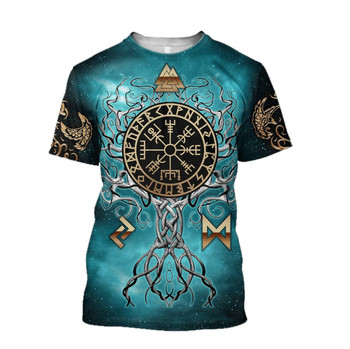 2020 Summer Fashion Viking Odin Mens t-shirt Raven Tattoo 3D Printed Harajuku Short Sleeve T shirts Unisex Casual Tops KJ-73 2