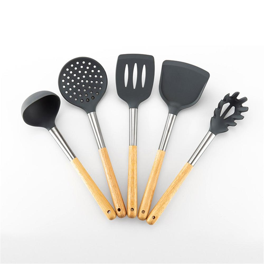 6Pcs Non stick Kitchen Tools Silicone Wood Handle Kitchen Cooking Tool Kitchen Utensil Set Cooking Spoon Shovel Set|Kitchen Gadget Sets| |  - title=