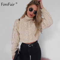 Forefair Turtleneck Knitted Crop Sweater Women Winter 2019 Long Sleeve Short Pullovers Autumn Solid Slim Casual Female Jumper