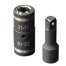 2 Pcs 4 in 1 Tire Impact Socket Set 1/2 Drive Impact Flip Socket and 3 inch Extension Bar New Patent