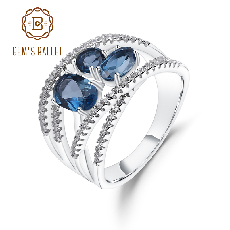 GEM'S BALLET 1.83Ct Natural London Blue Topaz Gemstone Rings 925 Sterling Silver Birthstone Finger Ring For Women Fine Jewelry