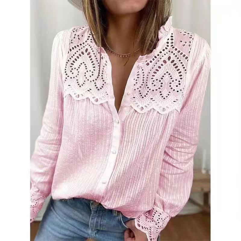 Блузка женская кружевная с круглым вырезом и длинным рукавом, свободного покроя 2