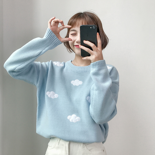 Ailegogo New 2020 Fall Winter Women Sweaters Knitted Stylish Pullovers Minimalist Loose Casual Wild Jumpers SW201 3