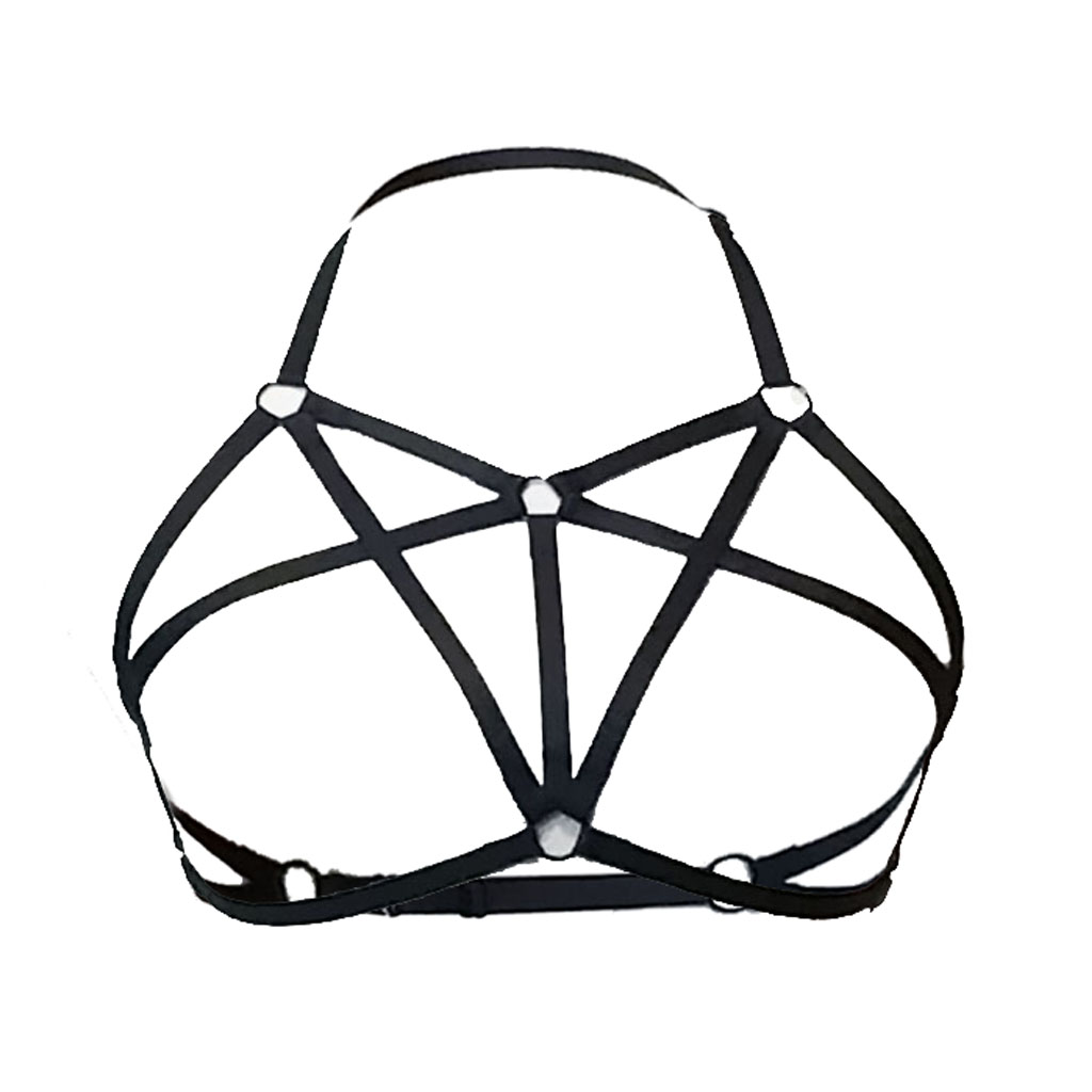 Women Sexy  Lingerie Fetish Body Harness Wear Cage Bra Handmade Cupless Body Harness Goth Crop Top Gathering Underwear