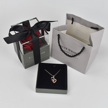 Beautiful Red Rose Flower Box Jewelry Storage Holder Case 100 languages I love you Necklace For Girlfriend Romantic Love Gift цена 2017