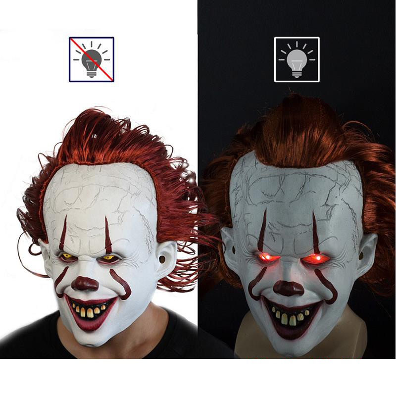 It Chapter Two 2 Costume Horror Joker Pennywise Cosplay Mask Stephen King Clown Latex Mask Helmet Halloween Carnival Props