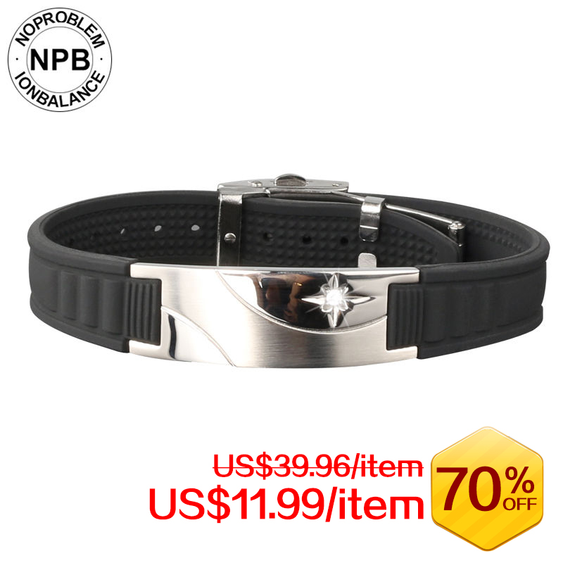 Noproblen 007 ion balance antifatigue choker power therapy wristband hologram tourmaline germanium bracelet