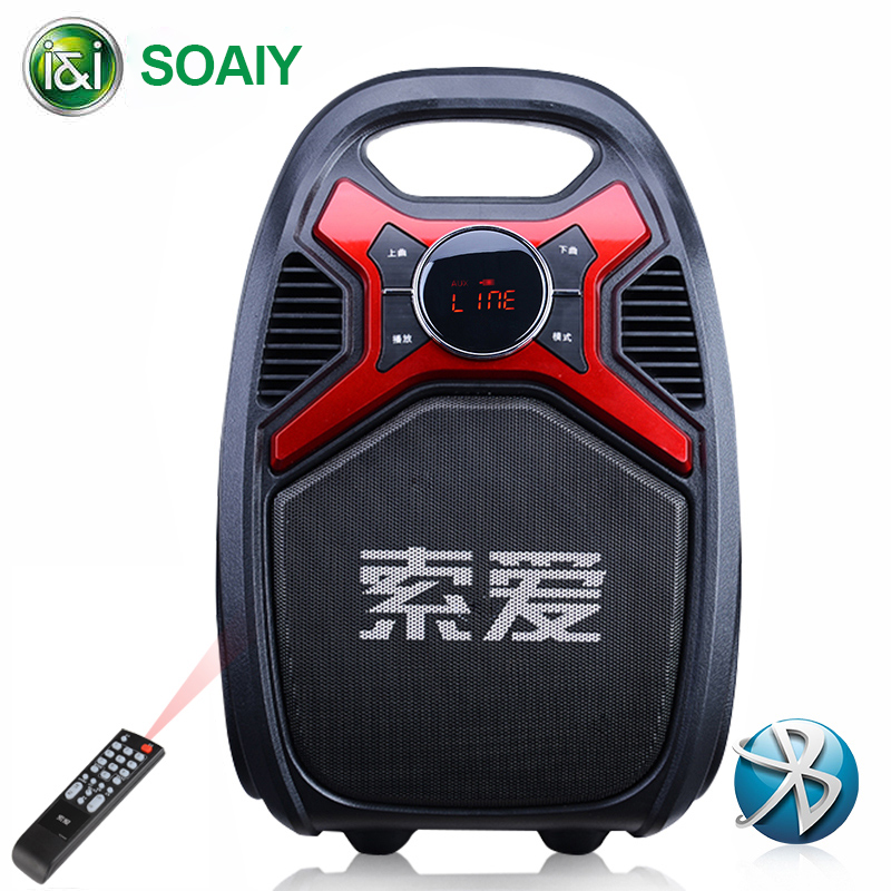 SOAIY T16 Outdoor Speaker Bluetooth Remote Wireless Portable Garden Picnic Party Subwoofer Microphone Clock LED Display FM Radio