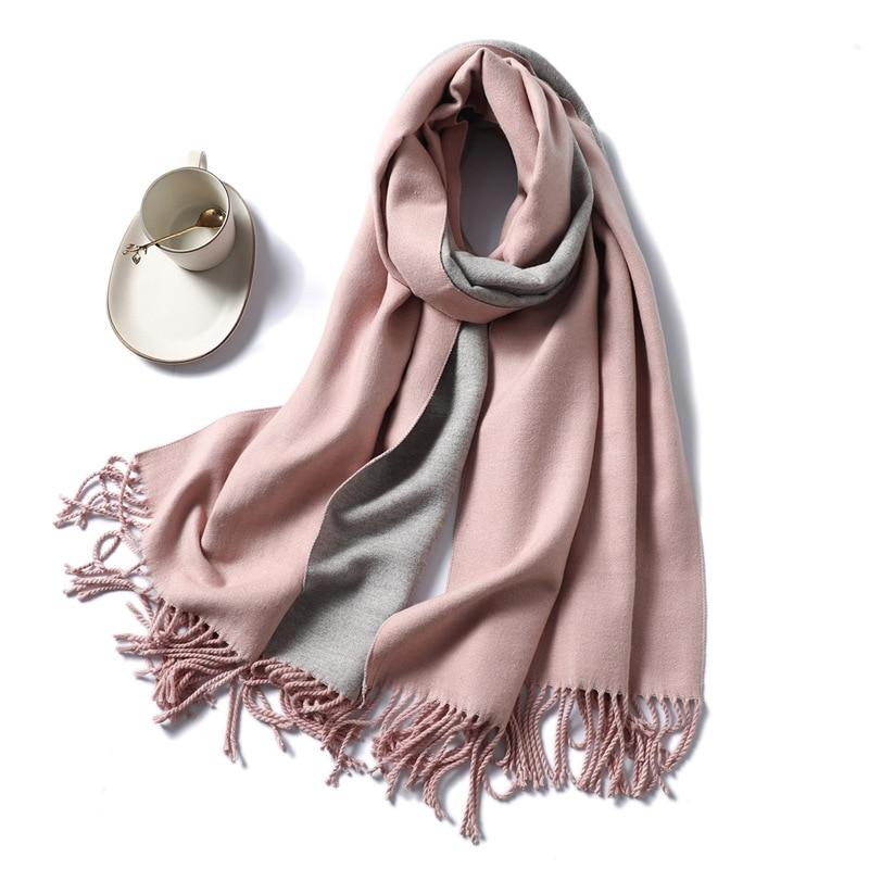 Winter Cashmere Scarf Women Thick Warm Shawls Wraps Lady Solid Scarves Fashion Tassels Pashmina Blanket quality foulard 2020 New(China)