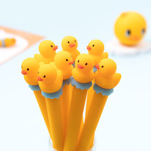 Mohamm-pluma Neutral creativa de dibujos animados, bonito pato amarillo, suministros escolares de firma para estudiantes, 0,5mm, 1 ud.