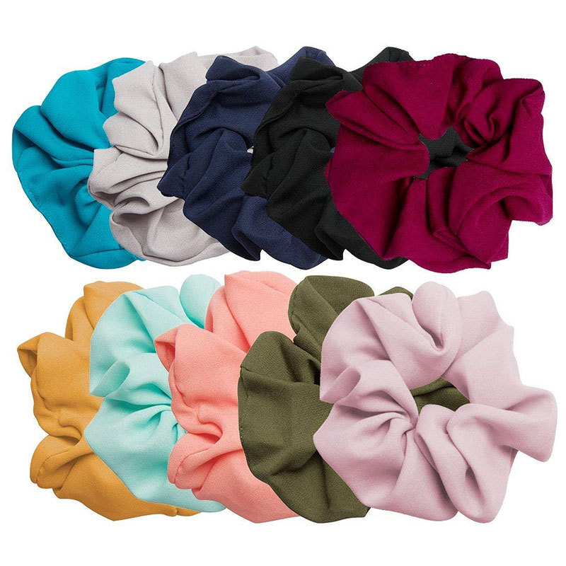 New Solid Color Bowel Elastic Band Chiffon Rubber Hair Band Fashion Woman Hair Ring Rope Ponytail Holder Hair Accessories