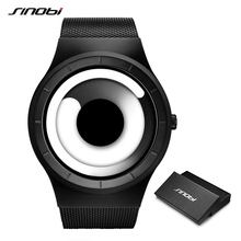 SINOBI Unique Vortex Concept Watch Men High Quality 316L Stainless Steel Milan Band Modern Trend Sport Black Wrist Watches Reloj