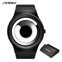 SINOBI benzersiz girdap kavramı izle erkekler yüksek kaliteli 316L paslanmaz çelik Milan bandı Modern Trend spor siyah bilek saatler Reloj