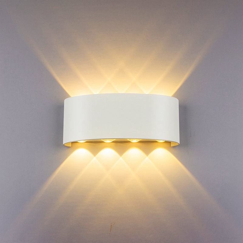 Led Wall Lamp 8W Up/Down Lighting Indoor Double-Head Curved Waterproof Wall Lamp Modern Bedroom Lamp Warm White Light