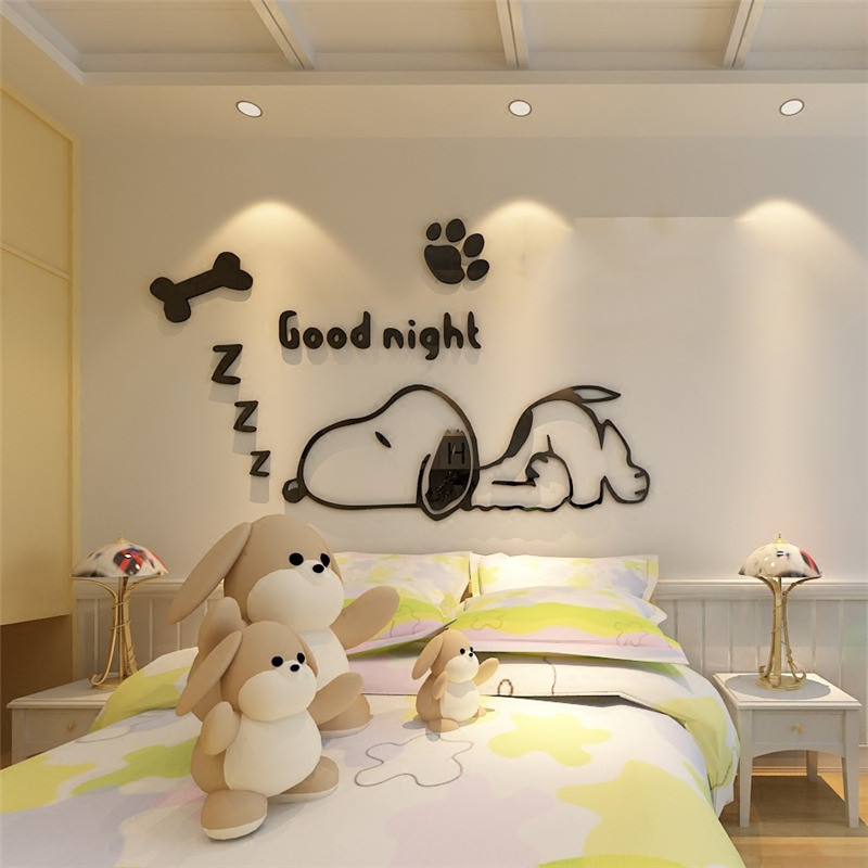 diy Cartoon Dog Mirror 3D Wall Stickers room decoration For Kids rooms Decor living room TV background wall art home decor mural (3)