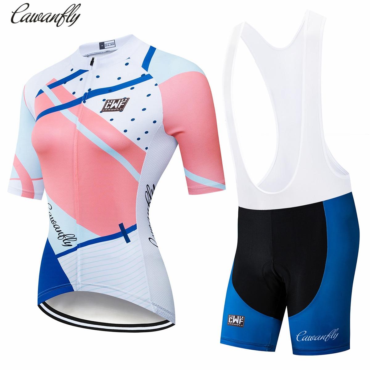 2019 New Women Cycling Jersey Set Team Bike shirt and Shorts suit Sports Uniform