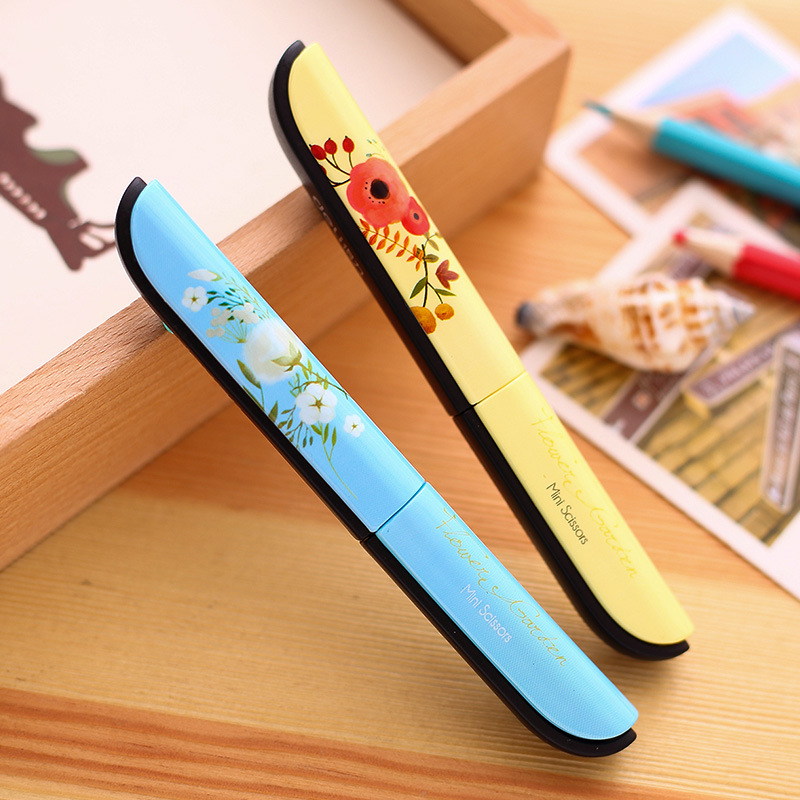Colour Portable Scissors Paper-Cutting Folding Safety Scissors Stationery Scissors Office School Hand Cut Supplies