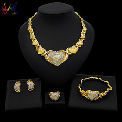 Yulaili Latest Design 18 Gold Plated big teddy bear I love you Jewelry Sets Heart Shape Crystal Necklace Earrings Bracelet Ring