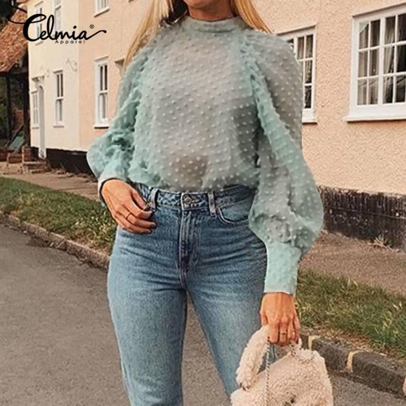 Sexy Women Blouse Summer Mesh Sheer Shirt 2020 Celmia Fashion See-through Long Sleeve Chiffon Top Stand Collar Casual Blusas 5XL