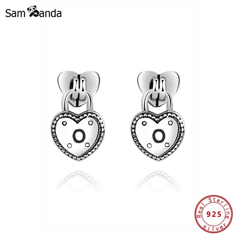 Authentic Original 100% 925 Sterling Silver Stud Earrings Love Locks Earring Heart For Women Wedding Gift Jewelry
