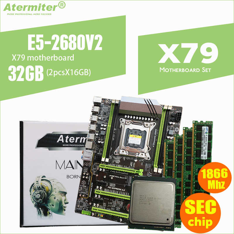 Atermiter X79 توربو اللوحة LGA2011 ATX المجموعات E5 2680 V2 (2 قطعة x 16 GB) 32GB 1866Mhz PC3 14900R PCI-E NVME M.2 SSD USB3.0