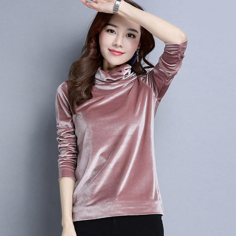 High Neck Fleece Velvet Bottoming Shirt Women's T-shirts Fall Winter Tops Shirts 2019 Korean Slim Casual T-shirt Female Clothing
