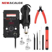 NEWACALOX 700W 858D EU/US Soldering Station Desoldering Heat Gun LED Digital SMD Rework Welding Hot Air Tool Set