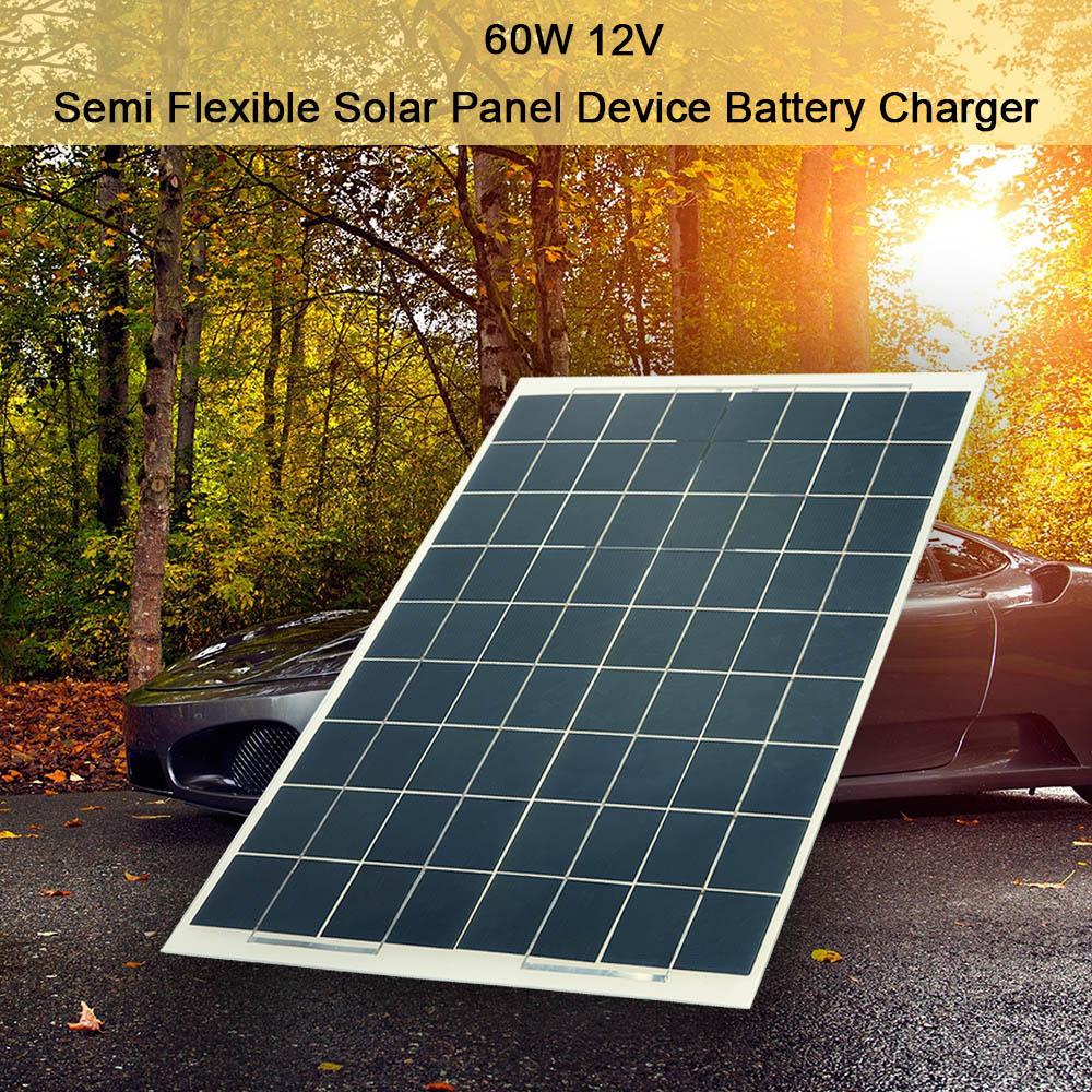 New 60W 12V Semi Flexible Solar Panel Device Battery Charger Portable Solar Charger Pane Climbing Portable Fast Charger for Outd