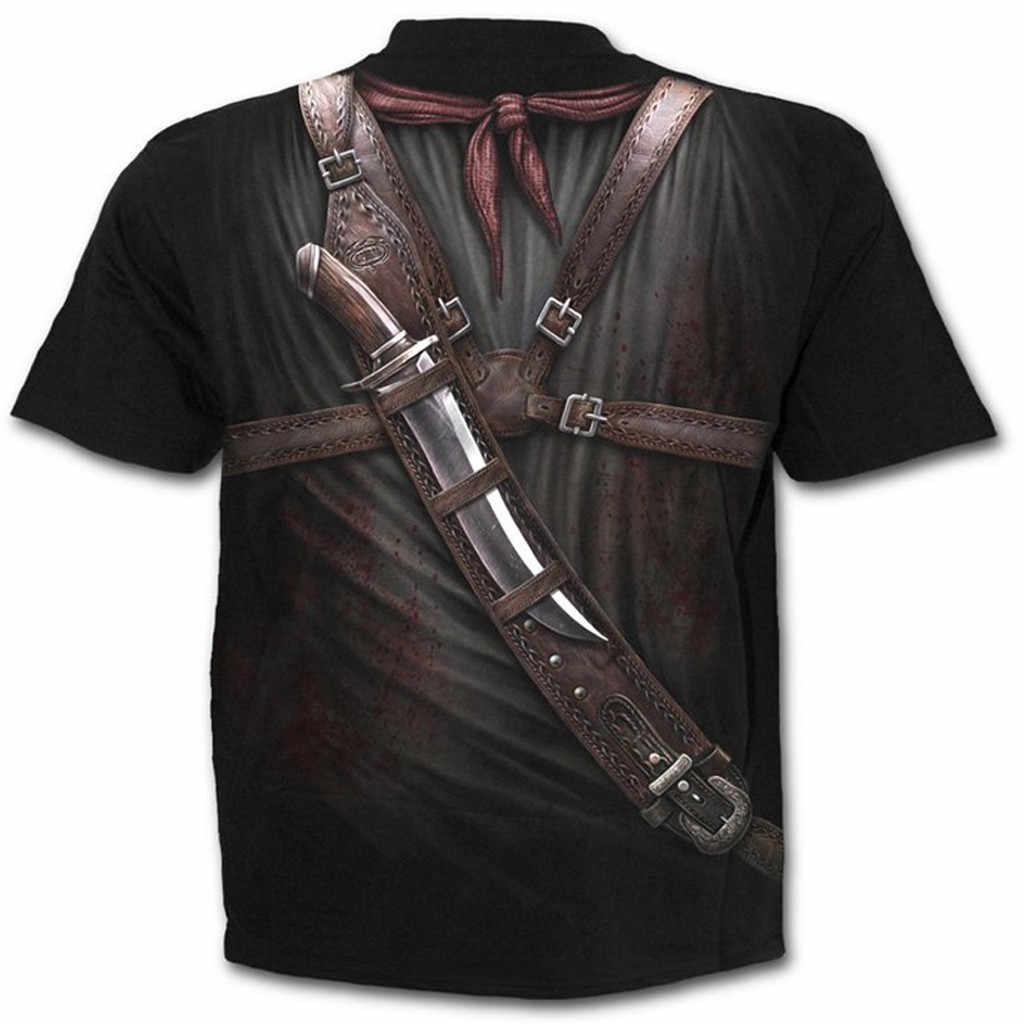 2019 męskie koszulki z krótkim rękawem nowy mody lato Western Cowboy drukowanie wokół szyi Slim fitness krótki rękaw koszula bluzka fajne # YL10