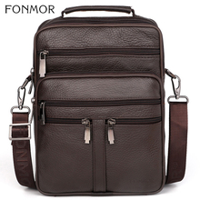 цены Fonmor New Genuine Leather Bag Male Bags Cowhide Men Crossbody Bags Men's Travel Shoulder Bags Tote Laptop Briefcases Handbag