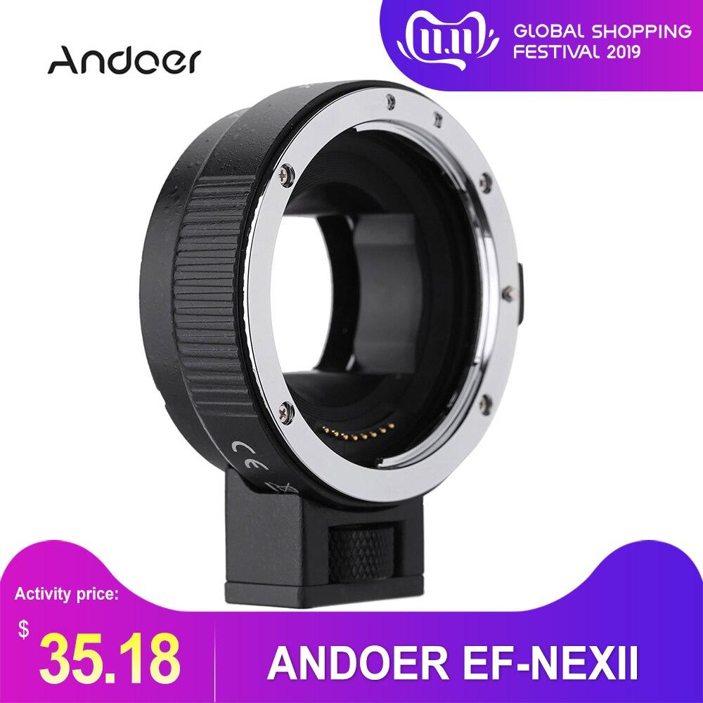 Andoer EF-NEXII Auto Focus AF lentille adaptateur anneau Anti-secousse pour Canon EF EF-S objectif à utiliser pour Sony NEX E monture caméra plein cadre