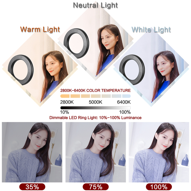 6inch RGB LED Ring Light Selfie Video Ring Lamp With Tripod Stand USB Plug 15 Colors 3 Model For YouTube Live Makeup Photography 4