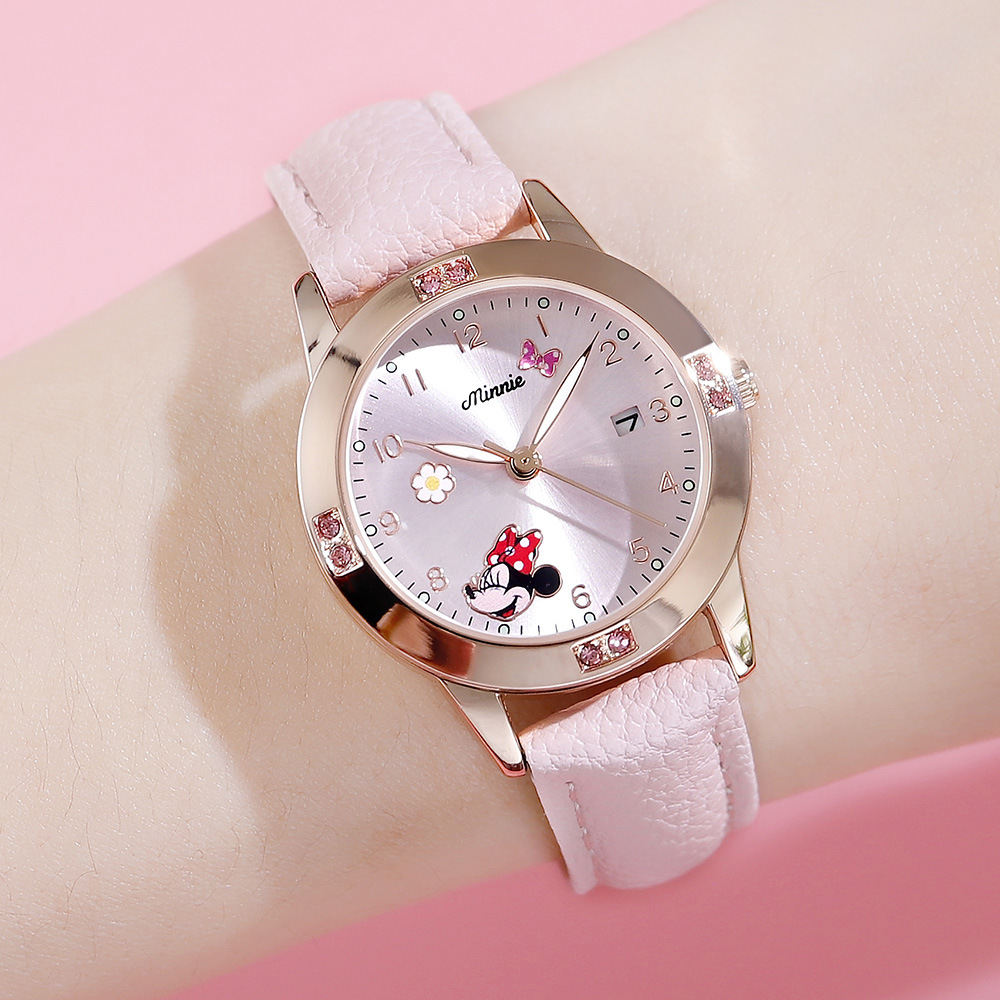 Disney Mickey Mouse Women Quartz Wristwatch Watches Gift For Kids Watches Metal Watch 3Bar Waterproof Cute Round Leather Strap