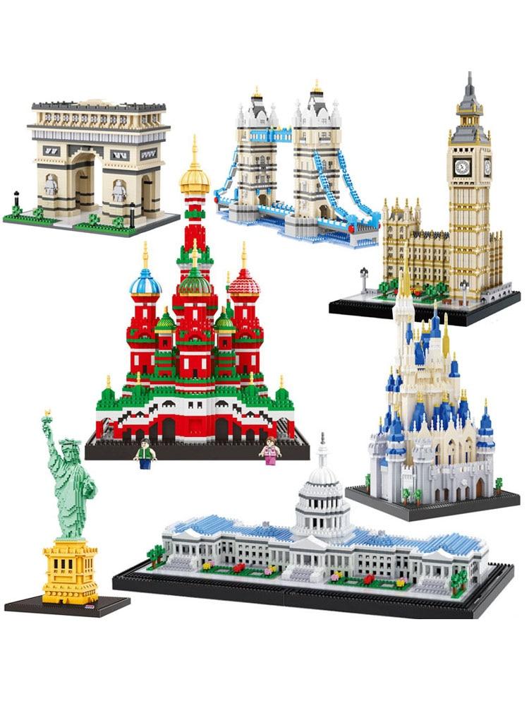 Toy Building-Blocks London Bridge Architecture Diamond Church Big Ben Balody World-Famous