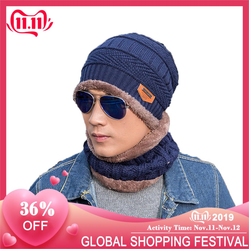 Dad Adults Child Hats Neck Warmer Scarf Set Winter Knitted Hat Wool Thick Warm Beanies Winter Ski Hat For Men Child Cap Bonnet