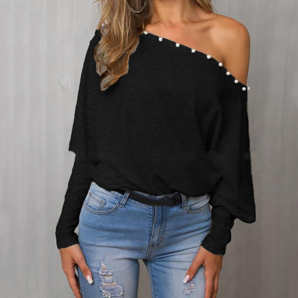 Sexy Women Autumn Solid Loose Slash Neck Off-shoulder Batwing Sleeve Tops Tee Female Casual All-match Beading T-shirt SJ4624U image
