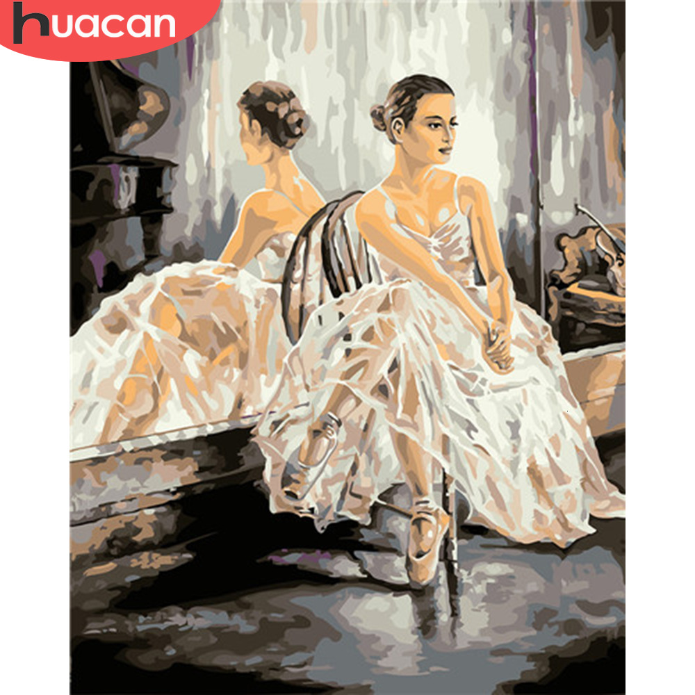 HUACAN Painting By Numbers Ballet Girl HandPainted Kits Drawing Canvas Oil Pictures By Numbers Dancer Portrait Home Decor Gift