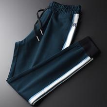 Minglu ירוק Mens מכנסיים יוקרה רקמה מקרית ספורט זכר מכנסיים בתוספת גודל 4xl סתיו וחורף Slim Fit עבה גבר מכנסיים