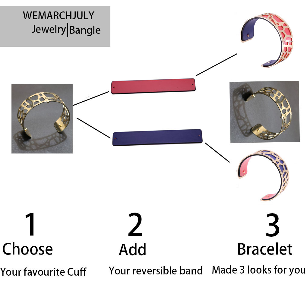Interchangeable Leather Cuff Bracelet Bangles with Gold Color Flower Shaped Manchette Femme Bijoux Bracelet for Women
