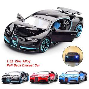 Car-Model-Collection Diecast Light Bugatti Pull-Back Chiron 1:32 Zinc-Alloy Kids