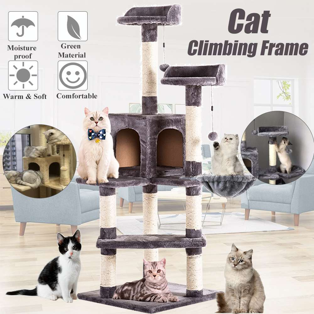 Multi-functional <font><b>Cat</b></font> <font><b>Tree</b></font> Board Condo Luxury <font><b>Cat</b></font> Scratching Post <font><b>Large</b></font> Climbing Frame <font><b>for</b></font> <font><b>Cat</b></font> Hanging Fluffy Balls Toys House image