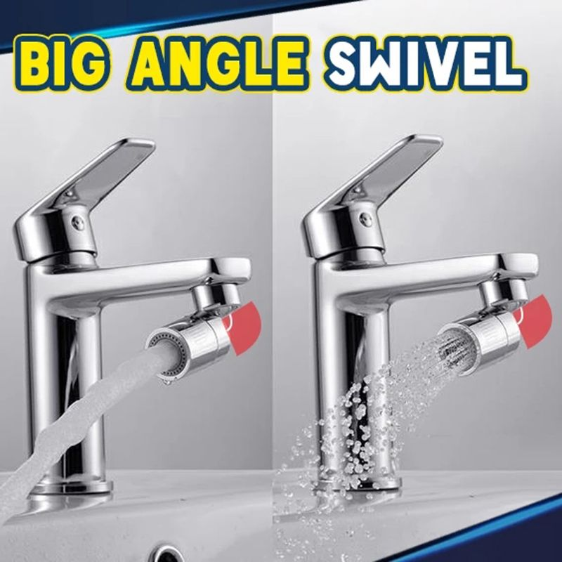 Kitchen Sink Aerator Solid Brass Big Angle Swivel Faucet 2Function 1.8GPM Chrome