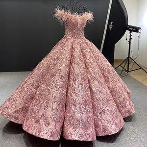 Image 3 - J66661 JANCEMBER parti uzun abiye 2020 sevgiliye kapalı omuz nakış tüyleri kadın elbise