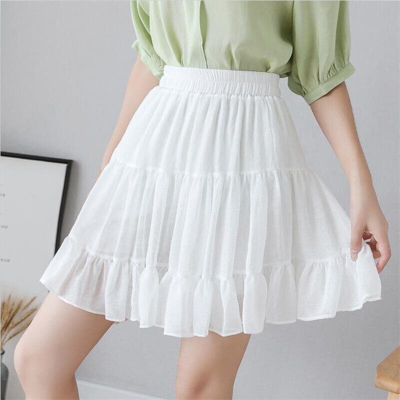 2019 Women Summer Autumn Shorts Chiffon Skirt High Waist Pleated Mini Skirts Sweet Girl Candy Color Skirts Plus Size M-7XL