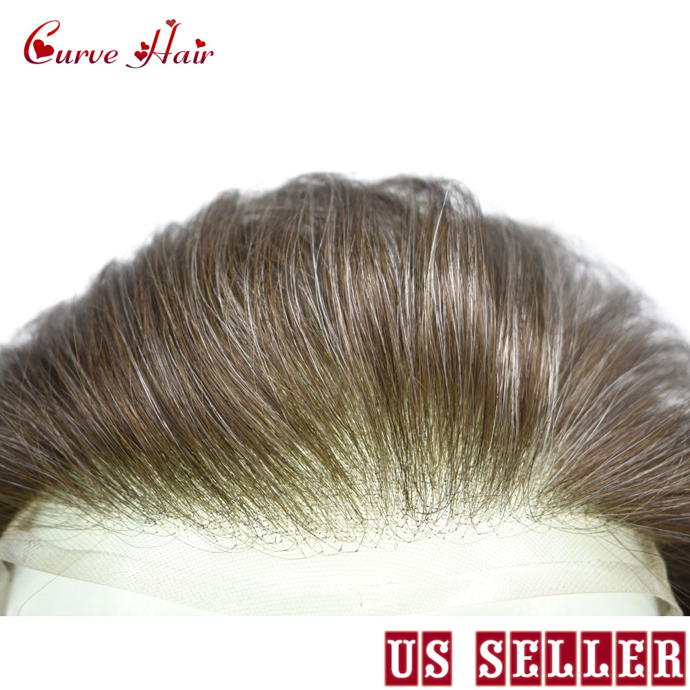 US Full Swiss Lace Hairpiece All Lace Black Toupee For Men 100% Human Hair Replacement Light Density Mens Hair Systems