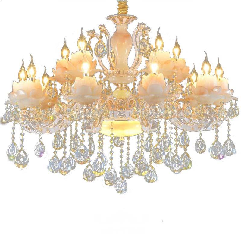 french luxury crystal chandelier living room bedroom Home Lighting luxury imitation jade lamp for bedrooms chandelier suspension
