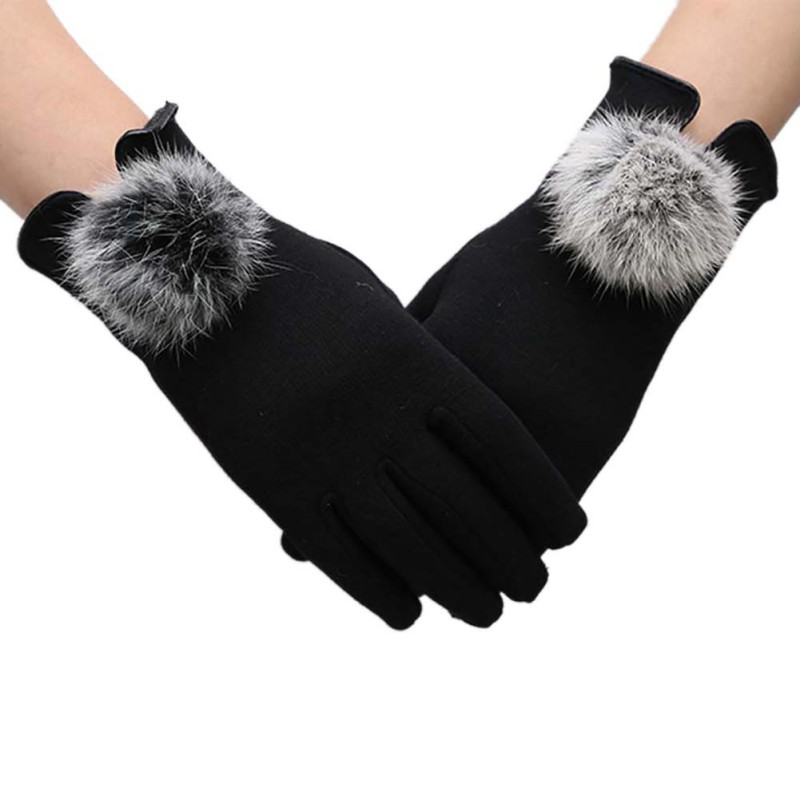 Fashion Women Winter Warm Faux Fur Autumn Elegant Cotton Touch Screen Gloves