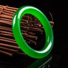 Натуральный зеленый нефритовый украшение, очаровательный браслет ювелирные изделия аксессуары ручной резной амулет подарки для Для женщин ее Для мужчин