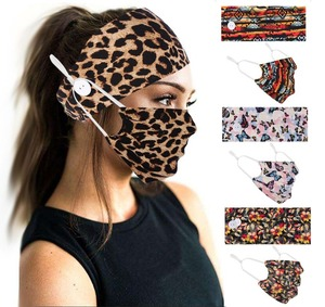 2 Pcs /set Women Leopard Headband Button Hairband with Mask Sports Elastic Head Band Hair Accessories Leopard Turban Hair Cover