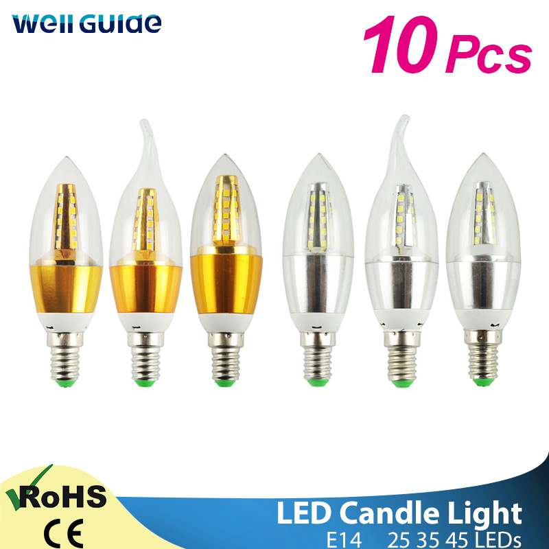 10pcs LED Bulb Candle E14 9W 12W Golden Aluminum LED Bulb AC 220V Led Lamp Cool Warm White Lampada Bombillas Lumiere Lampara